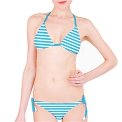Horizontal Stripes Blue Bikini Set by Mariart