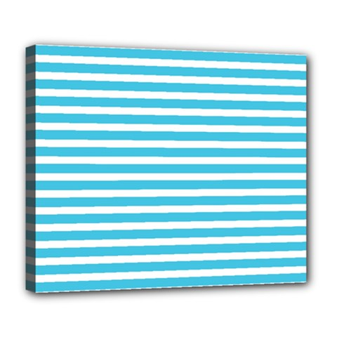 Horizontal Stripes Blue Deluxe Canvas 24  X 20   by Mariart