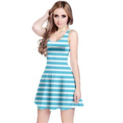 Horizontal Stripes Blue Reversible Sleeveless Dress by Mariart
