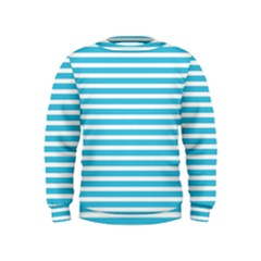 Horizontal Stripes Blue Kids  Sweatshirt by Mariart