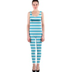 Horizontal Stripes Blue Onepiece Catsuit by Mariart