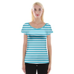 Horizontal Stripes Blue Women s Cap Sleeve Top by Mariart
