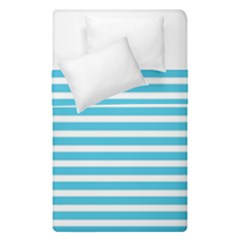 Horizontal Stripes Blue Duvet Cover Double Side (single Size) by Mariart