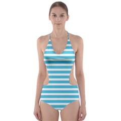 Horizontal Stripes Blue Cut Out One Piece Swimsuit by Mariart