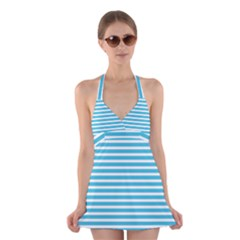 Horizontal Stripes Blue Halter Swimsuit Dress by Mariart