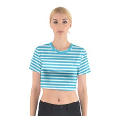 Horizontal Stripes Blue Cotton Crop Top by Mariart