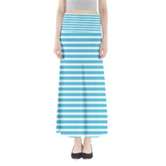 Horizontal Stripes Blue Maxi Skirts by Mariart