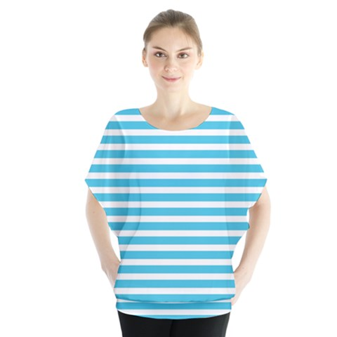 Horizontal Stripes Blue Blouse by Mariart