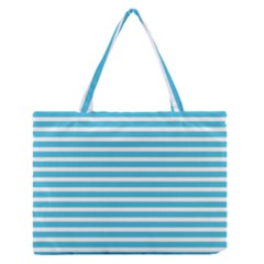 Horizontal Stripes Blue Medium Zipper Tote Bag by Mariart