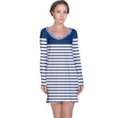 Horizontal Stripes Blue White Line Long Sleeve Nightdress by Mariart