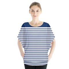 Horizontal Stripes Blue White Line Blouse
