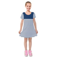 Horizontal Stripes Blue White Line Kids  Short Sleeve Velvet Dress by Mariart
