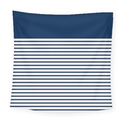 Horizontal Stripes Blue White Line Square Tapestry (large) by Mariart