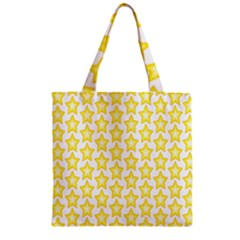 Yellow Orange Star Space Light Zipper Grocery Tote Bag by Mariart