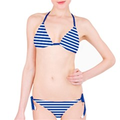 Horizontal Stripes Dark Blue Bikini Set by Mariart
