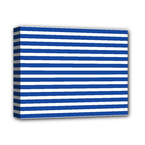 Horizontal Stripes Dark Blue Deluxe Canvas 14  X 11  by Mariart