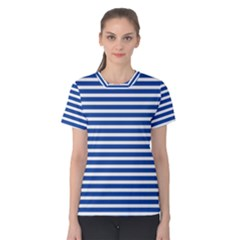 Horizontal Stripes Dark Blue Women s Cotton Tee by Mariart