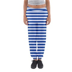 Horizontal Stripes Dark Blue Women s Jogger Sweatpants by Mariart