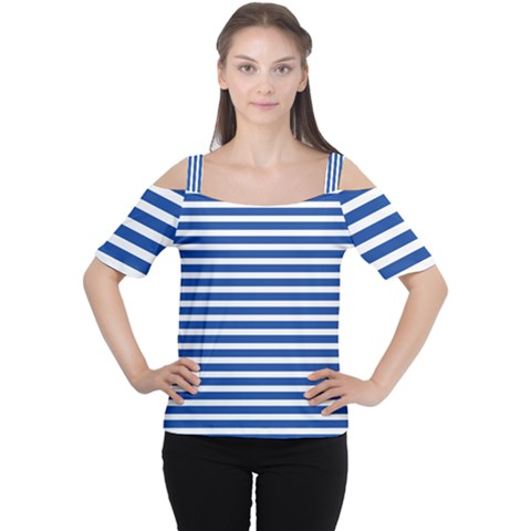Horizontal Stripes Dark Blue Women s Cutout Shoulder Tee by Mariart