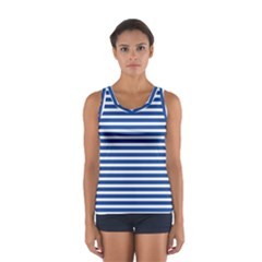 Horizontal Stripes Dark Blue Women s Sport Tank Top  by Mariart