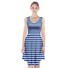 Horizontal Stripes Dark Blue Racerback Midi Dress by Mariart