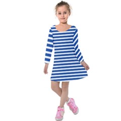 Horizontal Stripes Dark Blue Kids  Long Sleeve Velvet Dress by Mariart