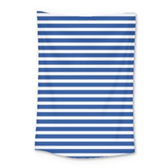 Horizontal Stripes Dark Blue Small Tapestry by Mariart