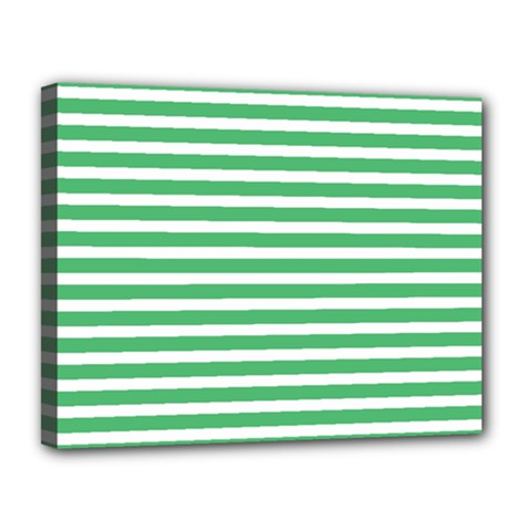 Horizontal Stripes Green Canvas 14  X 11  by Mariart