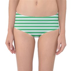 Horizontal Stripes Green Mid-waist Bikini Bottoms by Mariart