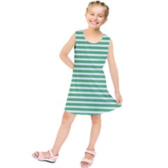 Horizontal Stripes Green Kids  Tunic Dress by Mariart