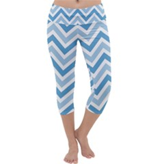 Zig Zags Pattern Capri Yoga Leggings by Valentinaart