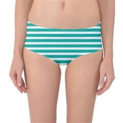 Horizontal Stripes Green Teal Mid-waist Bikini Bottoms by Mariart