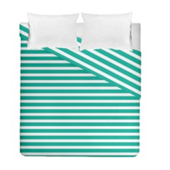 Horizontal Stripes Green Teal Duvet Cover Double Side (full/ Double Size) by Mariart