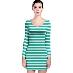 Horizontal Stripes Green Teal Long Sleeve Velvet Bodycon Dress by Mariart
