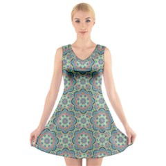 Decorative Ornamental Geometric Pattern V Neck Sleeveless Skater Dress