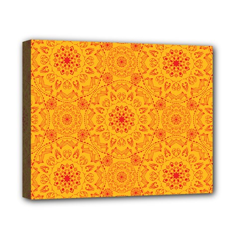 Solar Mandala  Orange Rangoli  Canvas 10  X 8  (stretched)