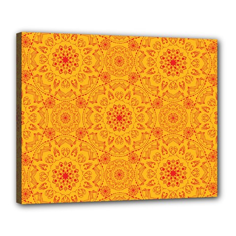 Solar Mandala  Orange Rangoli  Canvas 20  X 16  (stretched)