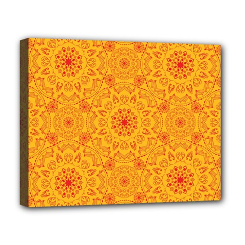 Solar Mandala  Orange Rangoli  Deluxe Canvas 20  X 16  (stretched)