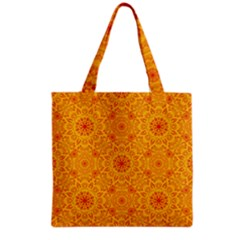 Solar Mandala  Orange Rangoli  Grocery Tote Bag by bunart