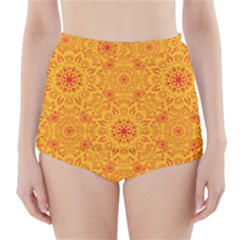 Solar Mandala  Orange Rangoli  High Waisted Bikini Bottoms by bunart