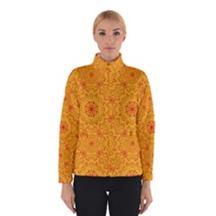 Solar Mandala  Orange Rangoli  Winter Jacket