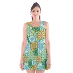 Forest Spirits  Green Mandalas  Scoop Neck Skater Dress by bunart
