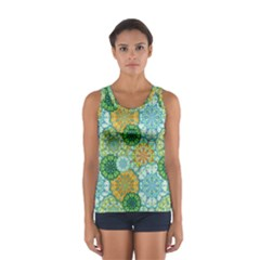Forest Spirits  Green Mandalas  Women s Sport Tank Top