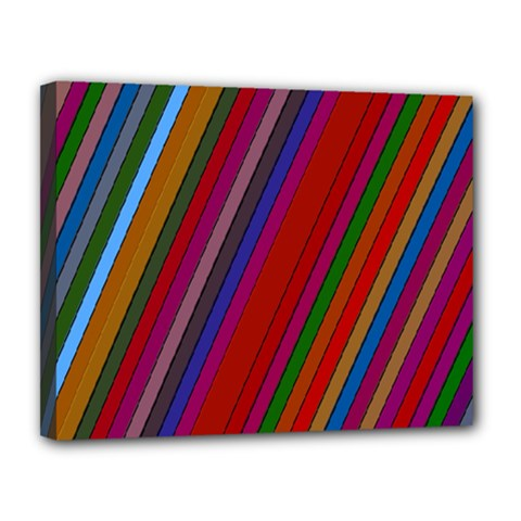 Color Stripes Pattern Canvas 14  X 11  by Simbadda