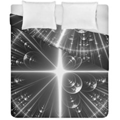 Black And White Bubbles On Black Duvet Cover Double Side (california King Size) by Simbadda