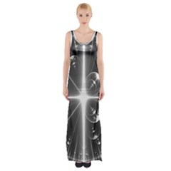 Black And White Bubbles On Black Maxi Thigh Split Dress by Simbadda
