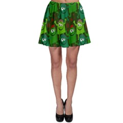 Seamless Little Cartoon Men Tiling Pattern Skater Skirt by Simbadda
