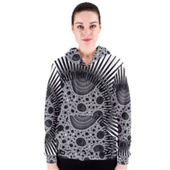 Fractal Background Black Manga Rays Women s Zipper Hoodie
