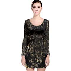 Golden Bows And Arrows On Black Long Sleeve Velvet Bodycon Dress by Simbadda