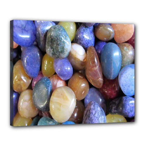 Rock Tumbler Used To Polish A Collection Of Small Colorful Pebbles Canvas 20  X 16  by Simbadda